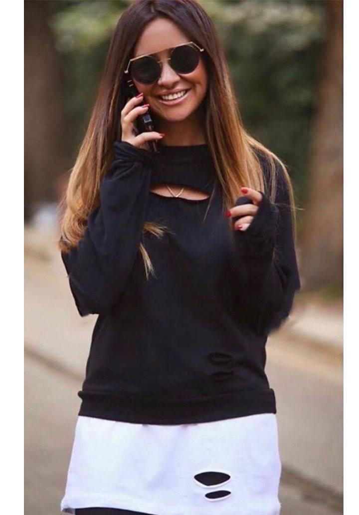 Eteği tshirt görünümlü tasarım sweatshirt