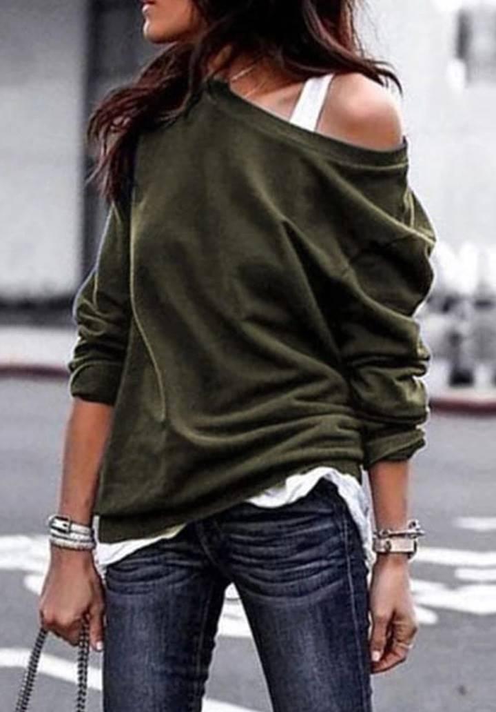 Tek Omuz Askı Detay Salaş Bluz(Haki)