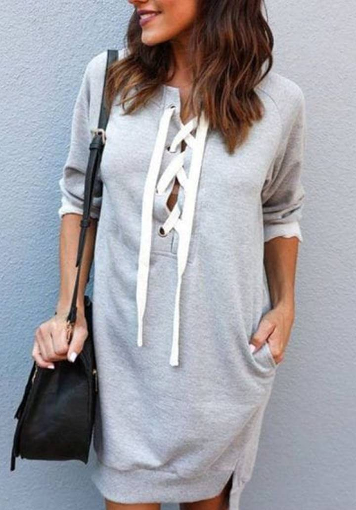 Cepli Bağcık Detay Sweat Elbise(Gri) - 1