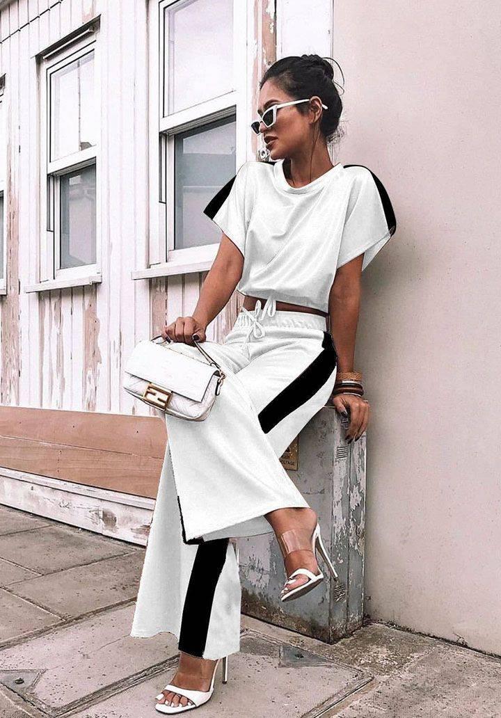 Yanı şeritli atlas kumaş takım(beyaz)