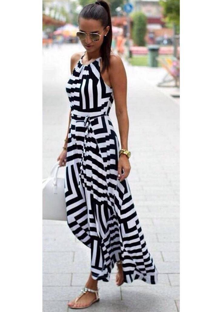 Maxi boy zebra desen elbise