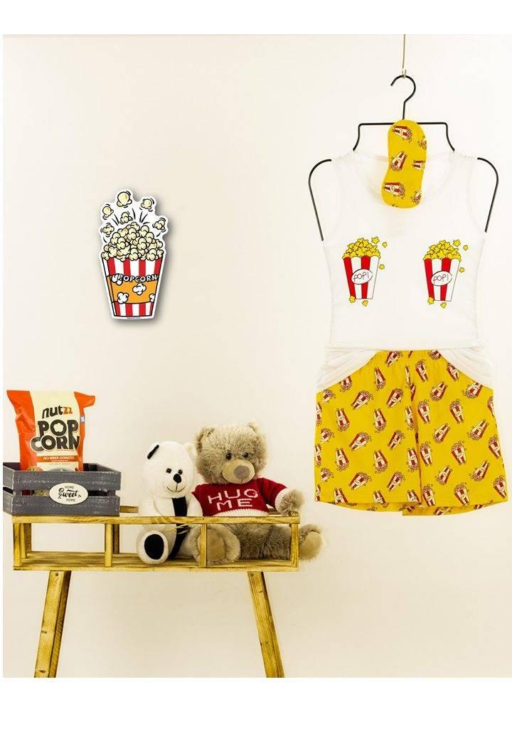 Popcorn desen şortlu pijama takımı(sarı)
