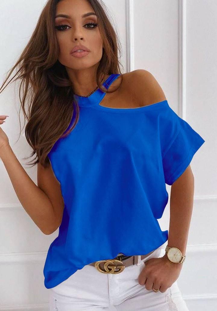 Tek omuz dekolteli tasarım bluz(sax)