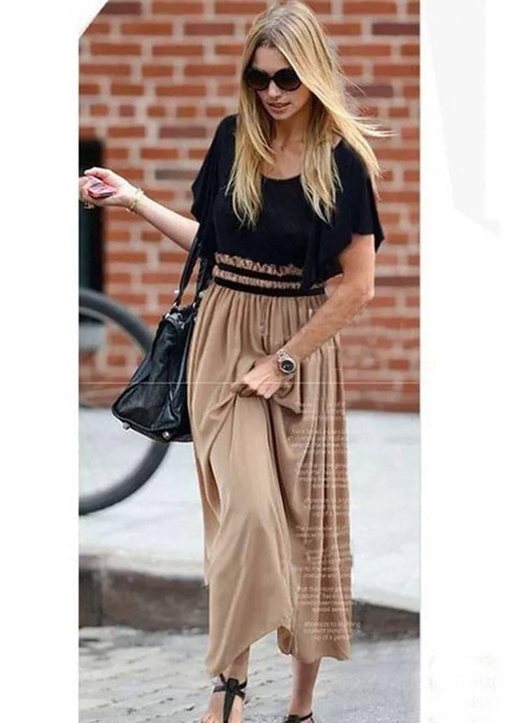 Eteği vizon beli lastikli tasarım elbise