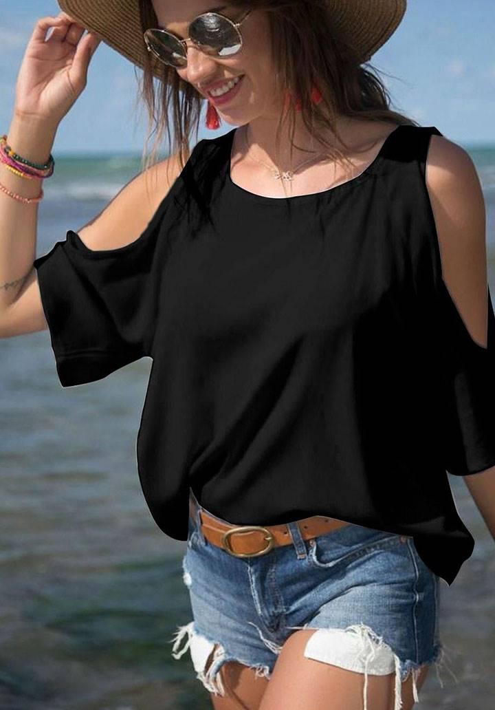 Omuz dekolteli basic bluz(siyah)