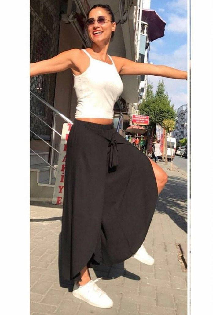 Siyah tasarım şalvar pantalon