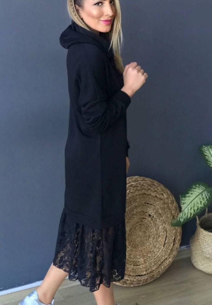 Eteği dantel kapşonlu spor elbise