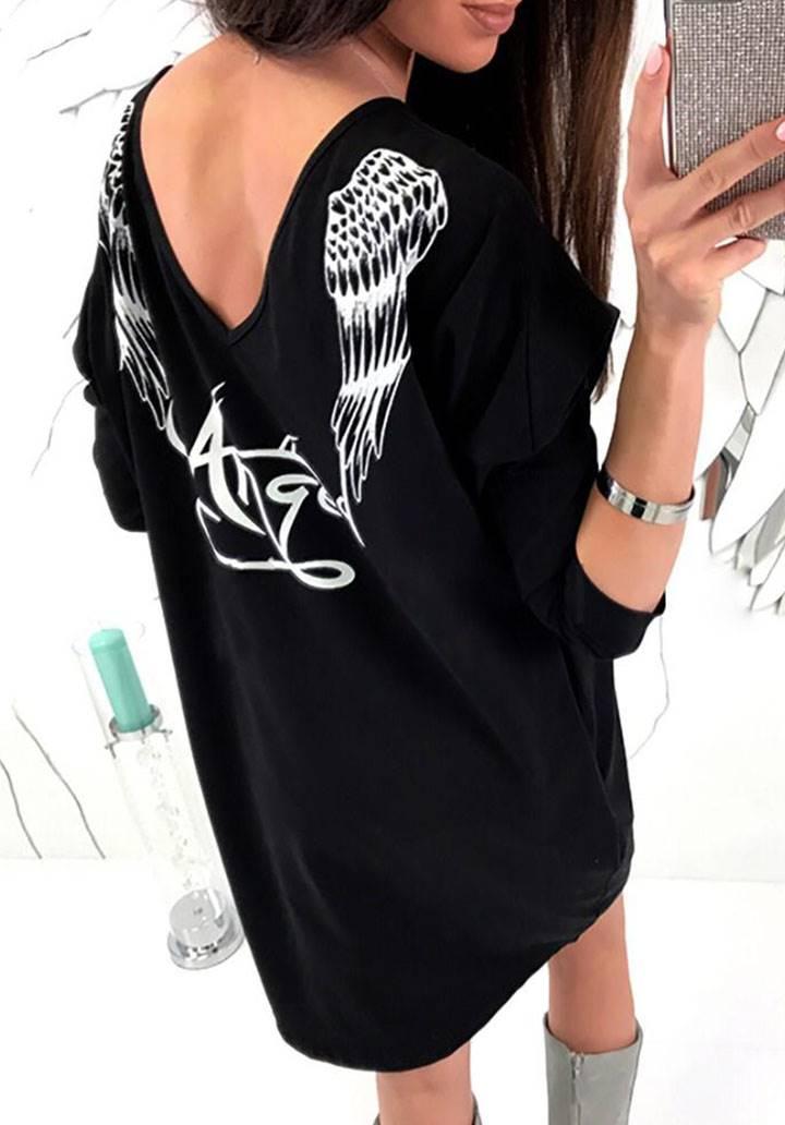 Angel melek kanatlı iki iplik elbise-tunik(siyah)