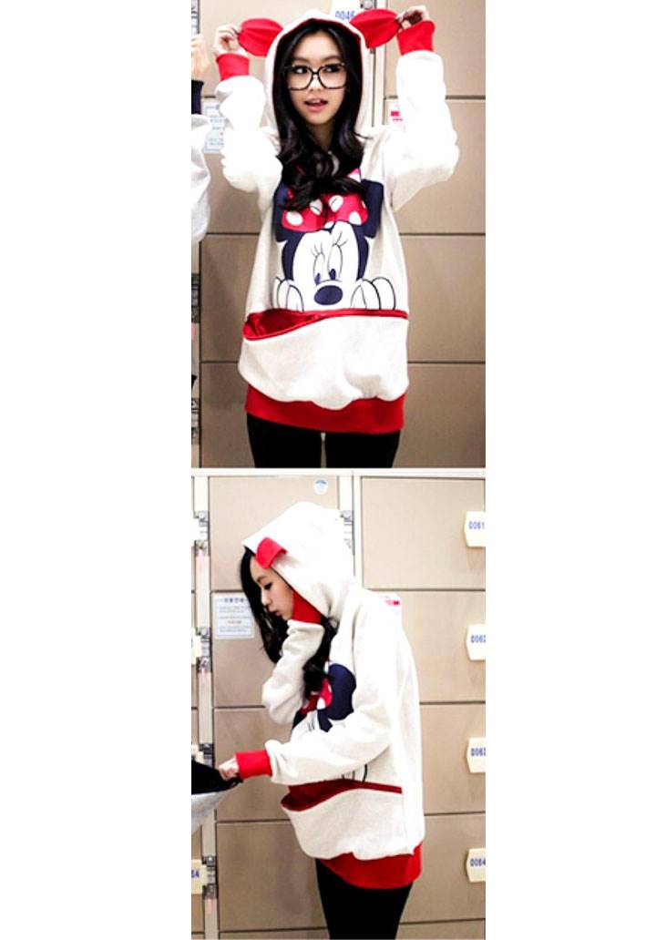Mickey kanguru cepli kapşonlu sweatshırt(kırmızı)