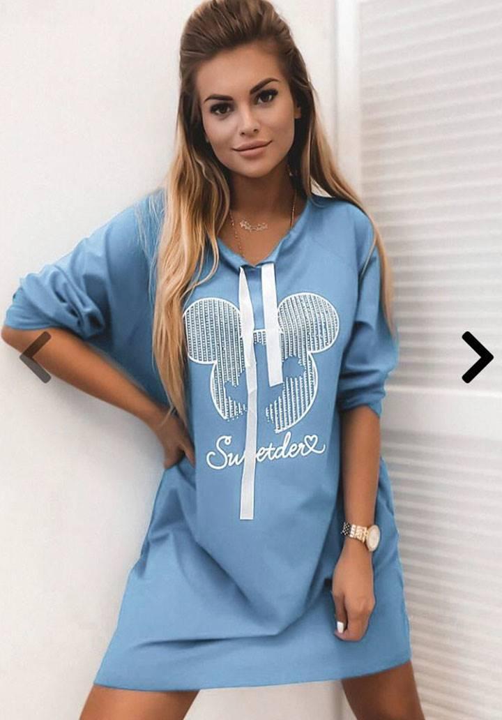 Baskılı Mavi Spor Elbise