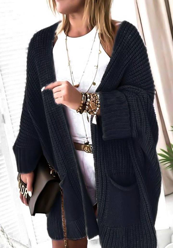 Cepli salaş triko hırka(siyah)