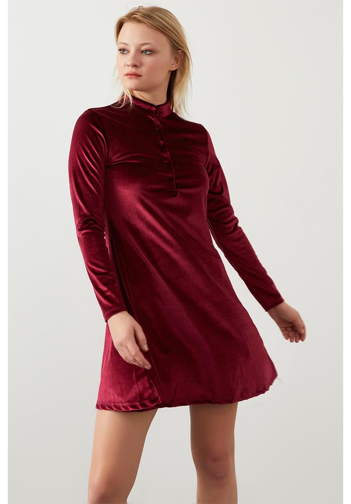 Yakası düğmeli kloş kadife elbise(bordo)