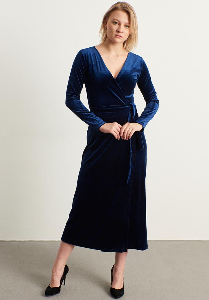 Kruvaze yaka kadife elbise(sax)