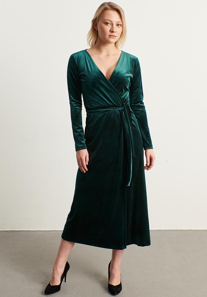 Kruvaze yaka kadife elbise(zümrüt)