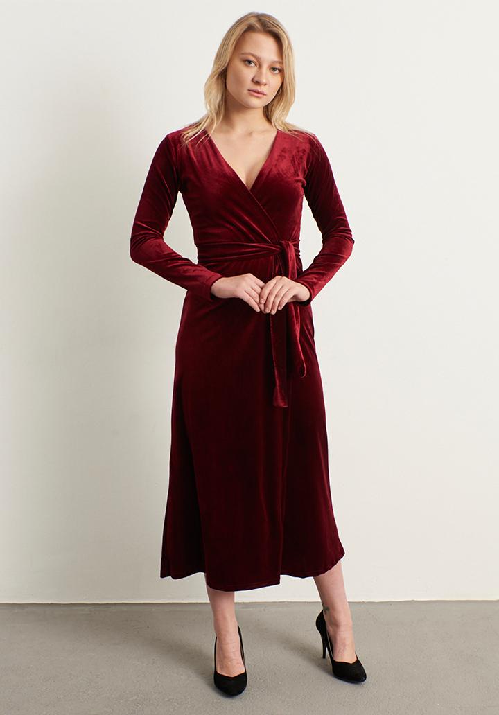 Kruvaze yaka kadife elbise(bordo)