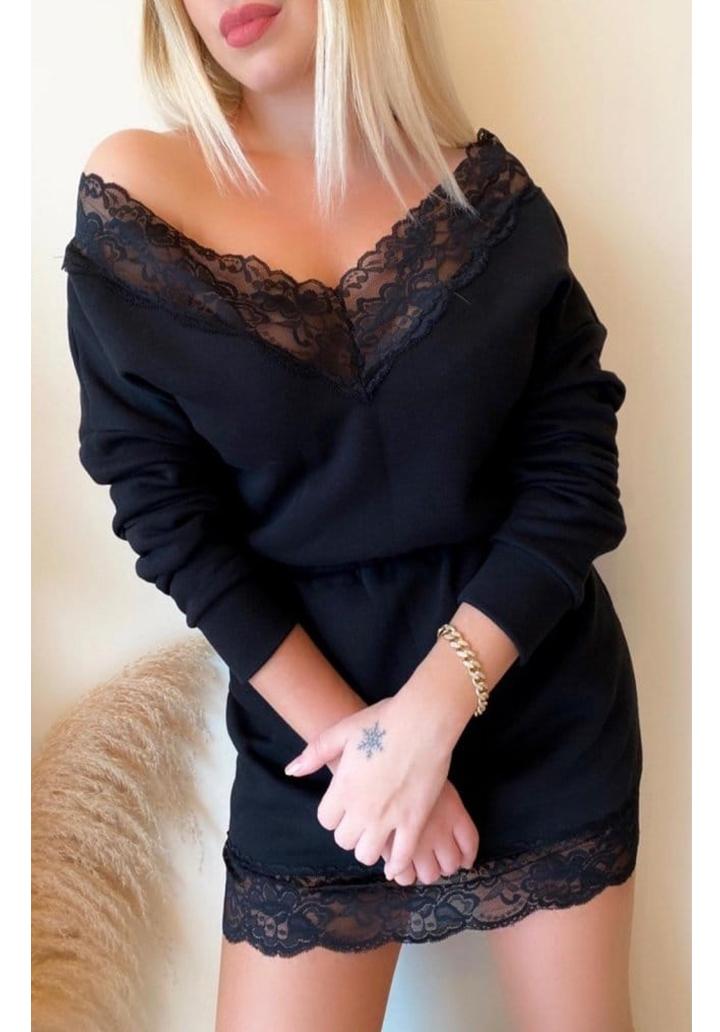 Beli Lastikli Dantel Detay Mini Elbise