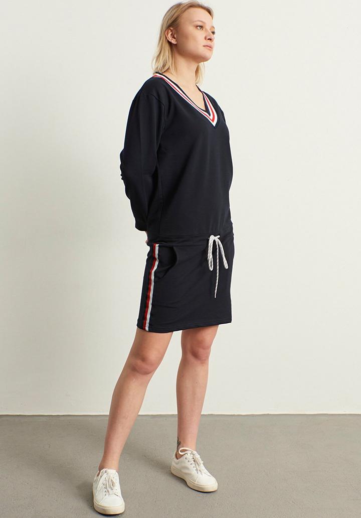 V yaka Biyeli Yeni Sezon Spor Elbise(Lacivert)