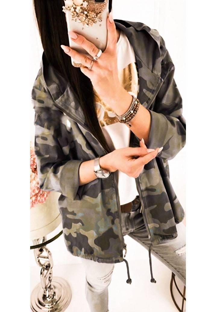 Kapşonlu kamuflaj desen hırka-ceket(yeşil) - 1