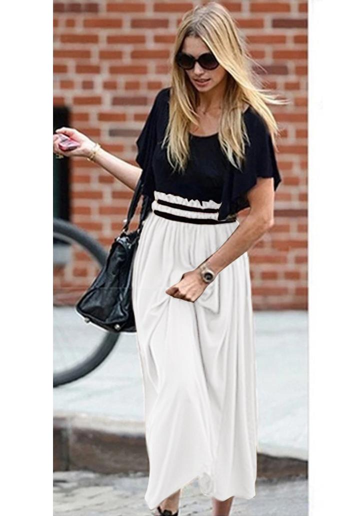 Beli Gipeli Şifon Etekli Elbise (Beyaz)
