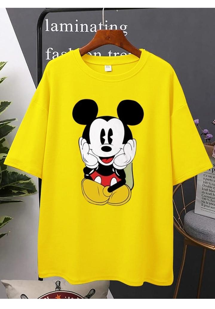 Mickey Baskılı Tshırt-Tunik (Sarı)