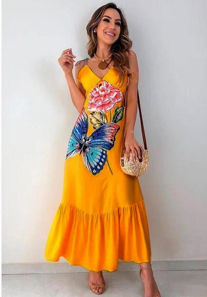 Kelebek desen rengareng elbise (hardal)