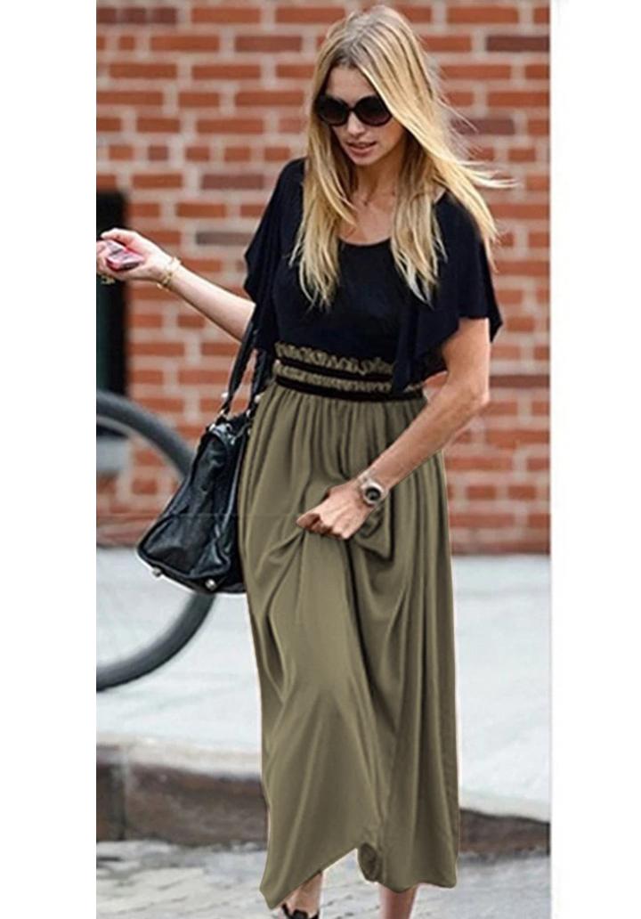 Beli Gipeli Şifon Etekli Elbise (Haki)