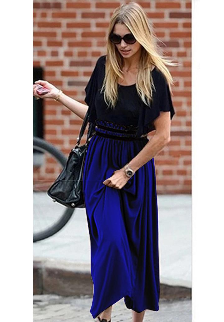 Beli Gipeli Şifon Etekli Elbise (Sax)