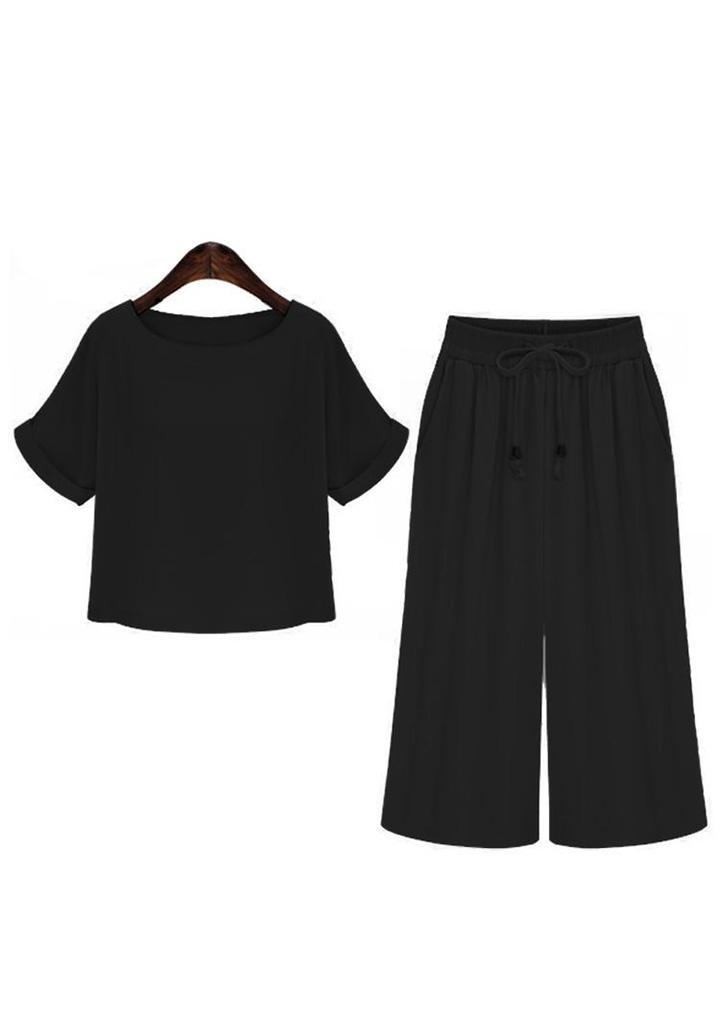 Duble Kol Bluz Kapri İkili Takım (Siyah)
