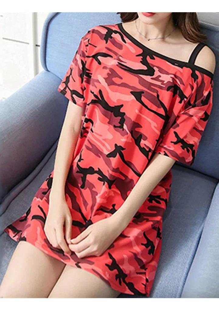 Omuz Askı Detay Kamuflaj Basic Elbise (Kırmızı)