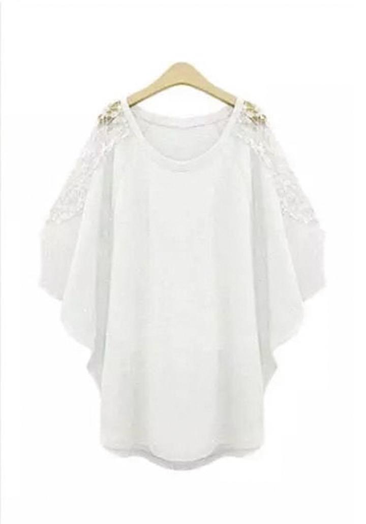 Omuz Dantel Detay Tunik (Beyaz)