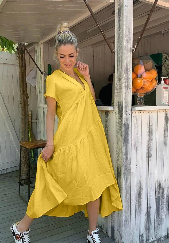 V Yaka Oversize Airobin Elbise (Sarı)