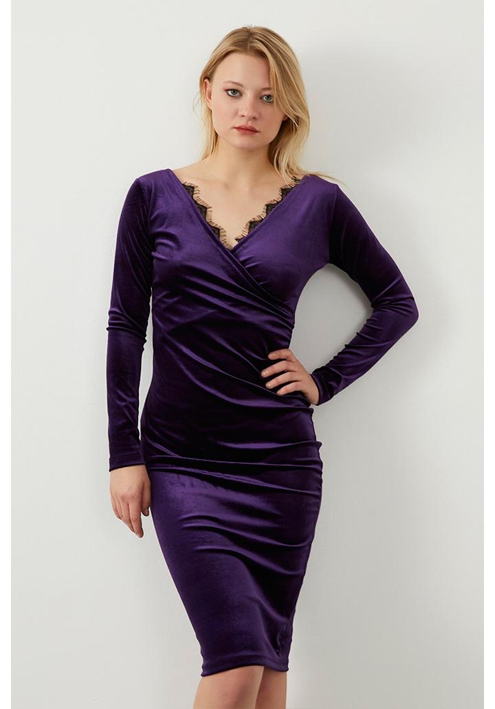 Kruvaze Yaka Gupur Detay Kalem Elbise(Mürdüm)