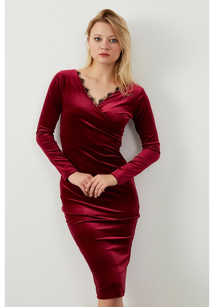 Kruvaze Yaka Gupur Detay Kalem Elbise(Bordo)