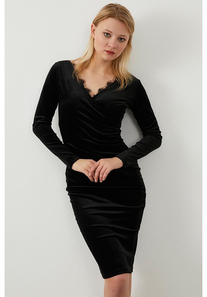 Kruvaze Yaka Gupur Detay Kalem Elbise(Siyah)