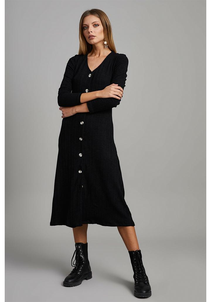 Midi boy V yaka düğmeli elbise(siyah)