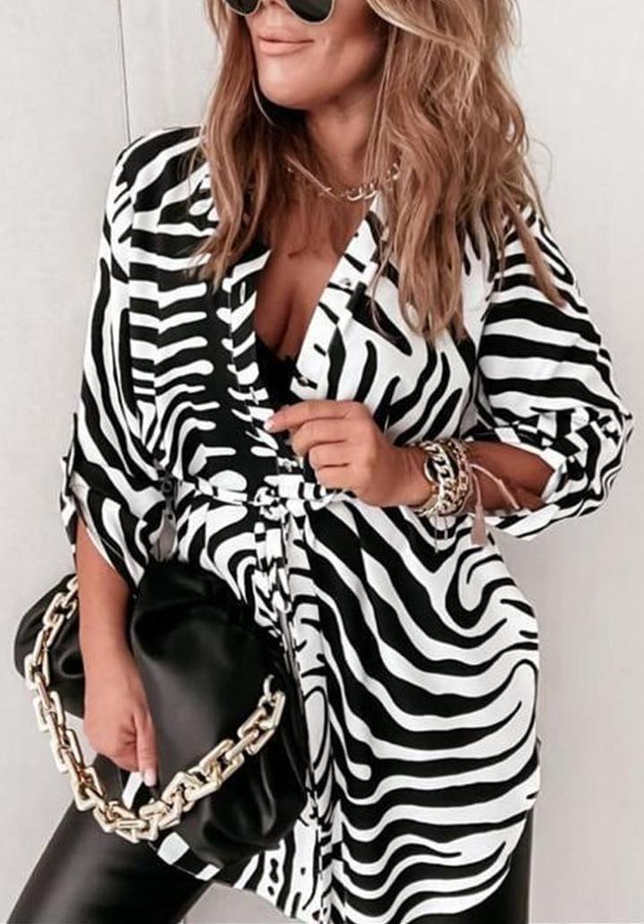 Zebra Desen Kuşaklı Gömlek-Tunik
