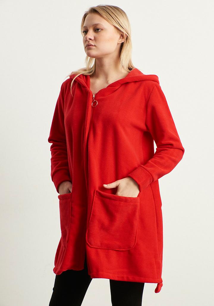 Kapşonlu Cepli Polar Ceket(Kırmızı)