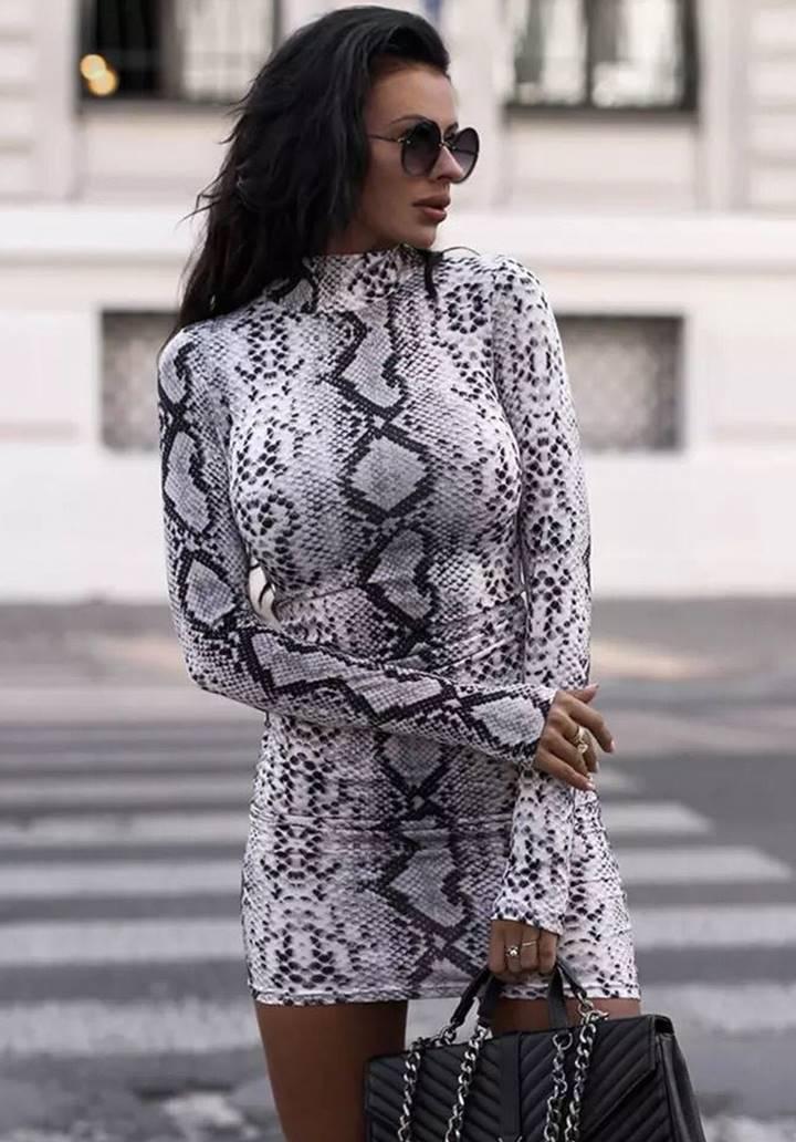 Yılan Derisi Desen Micro Kumaş Elbise