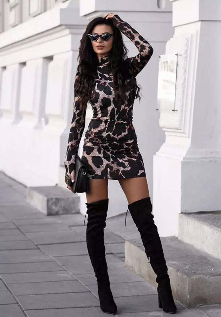 Leopar Desen Micro Kumaş Elbise