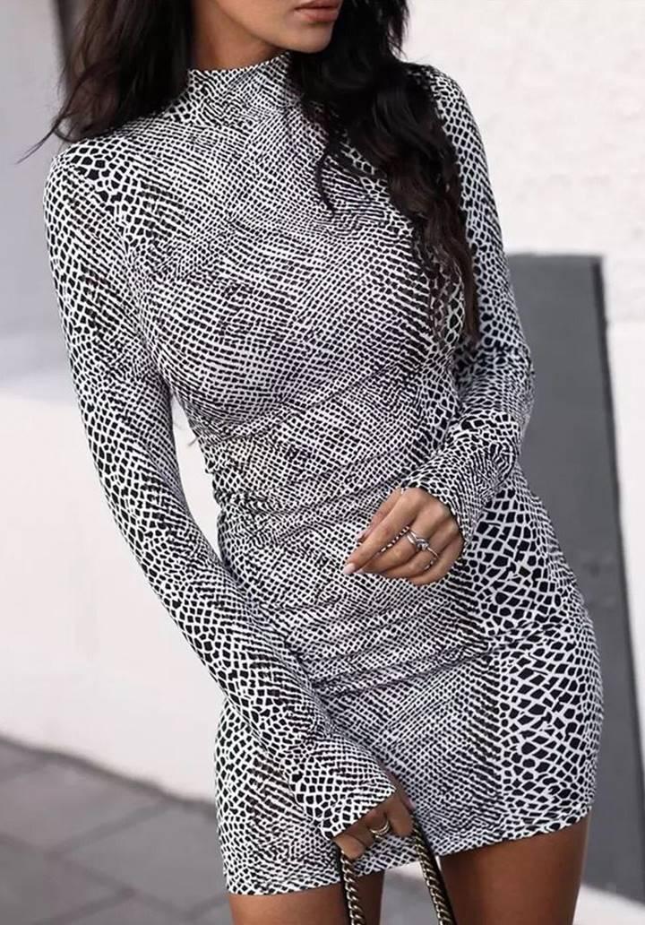 Yılan Derisi Desen Micro Kumaş Elbise(Gri)