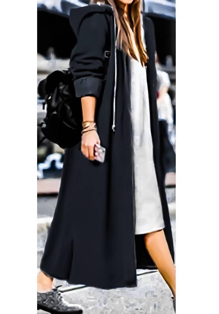 Kapşonlu maxı boy denim ceket(Siyah)