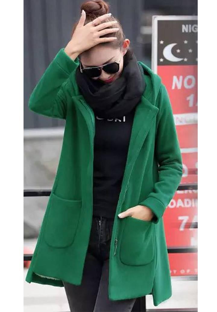 Kapşonlu Cepli Polar Ceket(Yeşil)