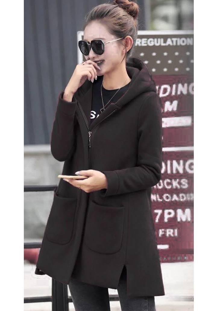 Kapşonlu Cepli Kaşe Ceket(Siyah)