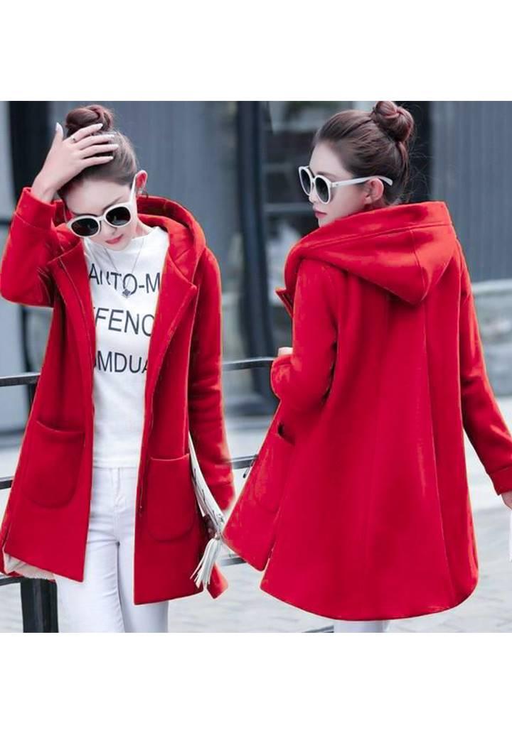 Kapşonlu Cepli Kaşe Ceket(Kırmızı)