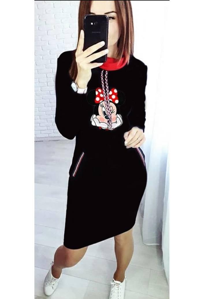 Minnie baskılı cep aksesuar şerit elbise(Siyah)