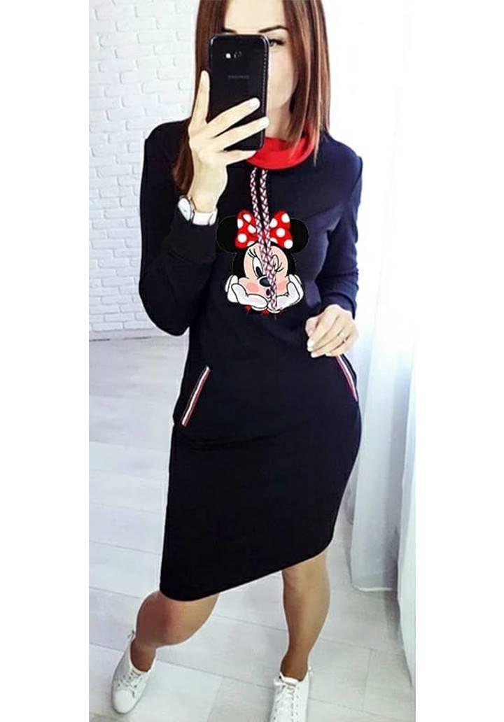 Minnie baskılı cep aksesuar şerit elbise(Lacivert)