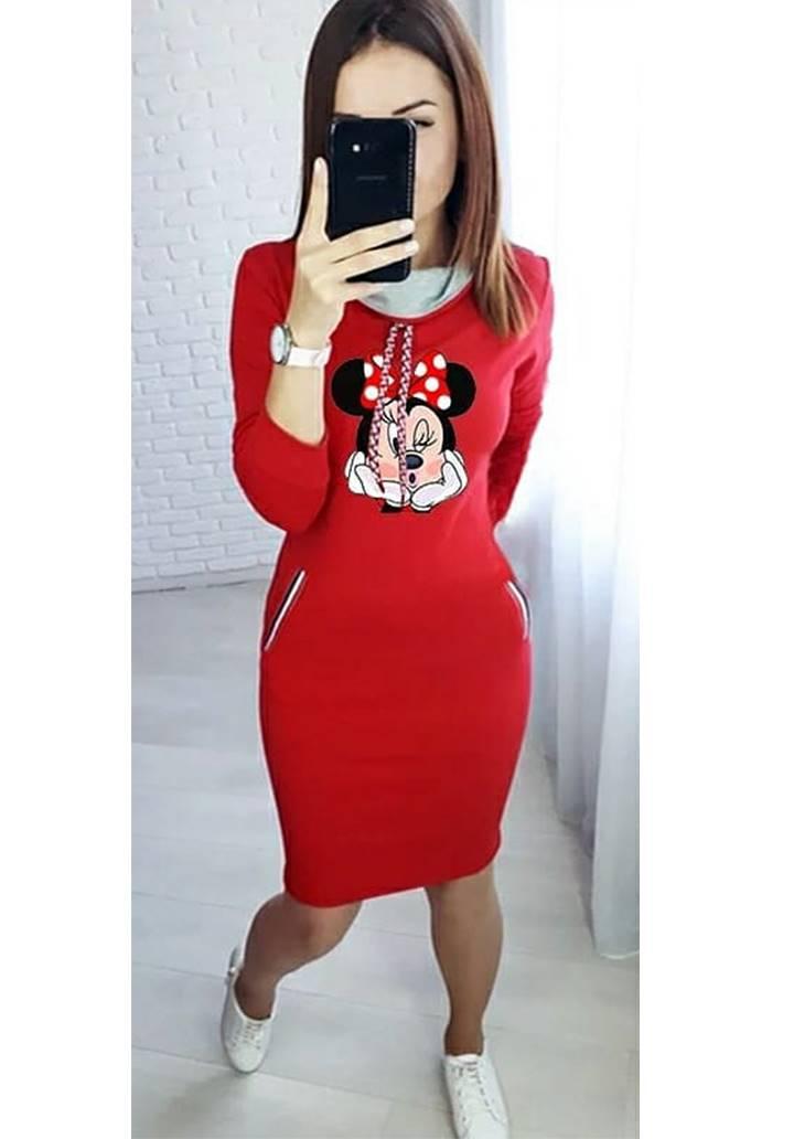 Minnie baskılı cep aksesuar şerit elbise(Kırmızı)