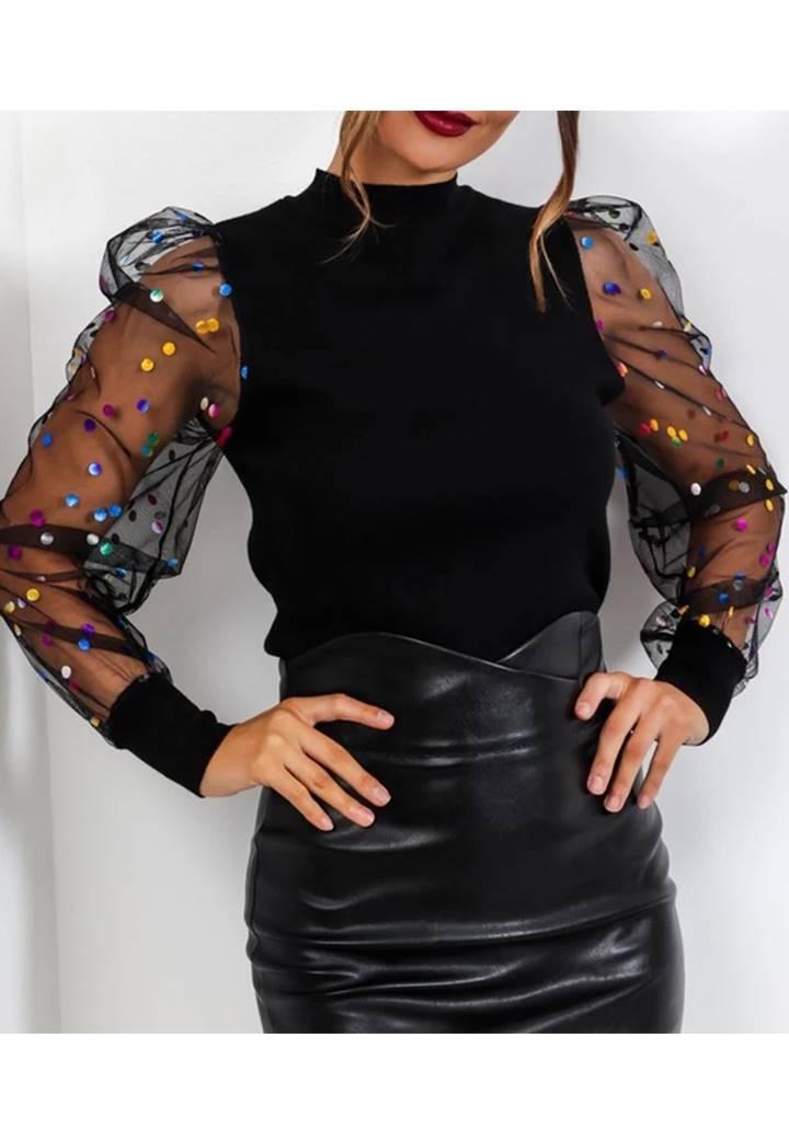 Kolları tül üzeri benekli akrelik bluz(siyah) - 1