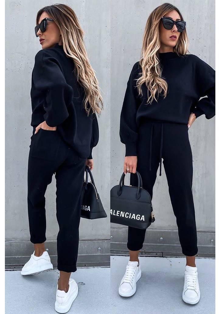 Yarım Balıkçı Yaka Bluz Pantolon İkili Takım(Siyah)