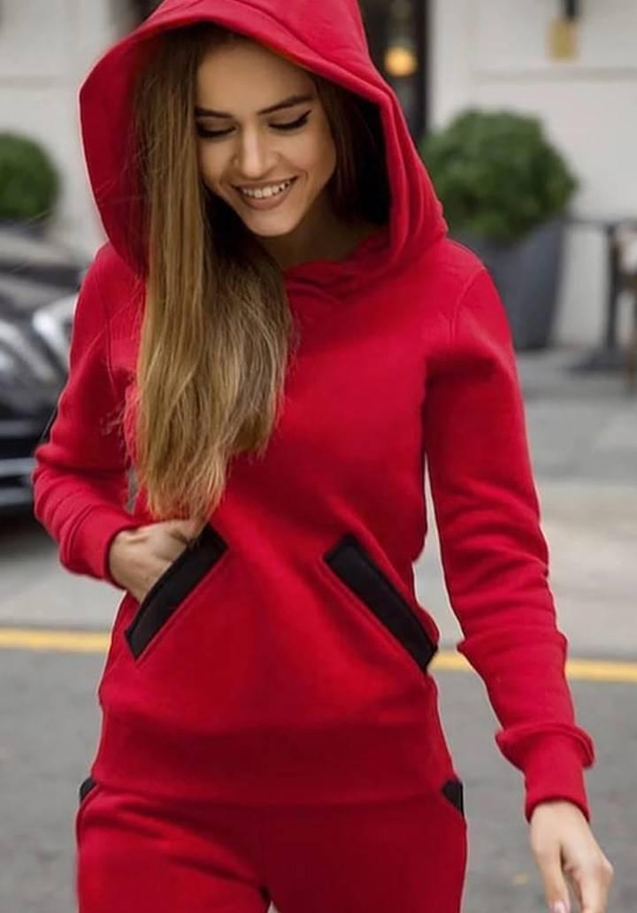 Kapşonlu Cep Detay İkili Takım(Kırmızı)